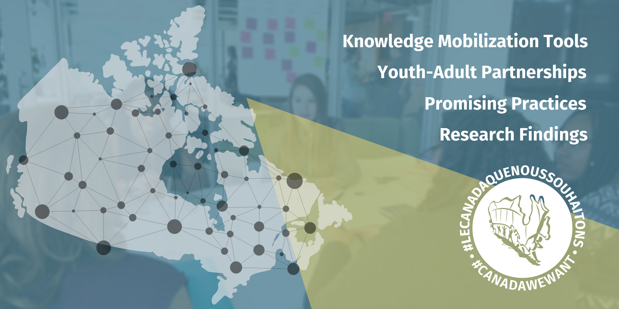 Map of Canada with many connected nodes. Knowledge Mobilization, Youth-Adult Partnerships, Promising Practices and Research Findings.
